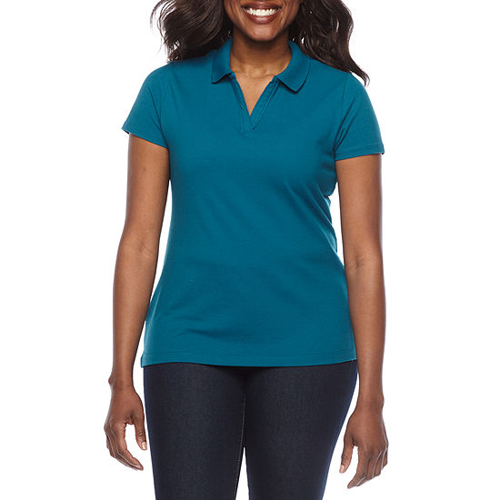 St. John's Bay Womens Short Sleeve Polo Shirt Petite