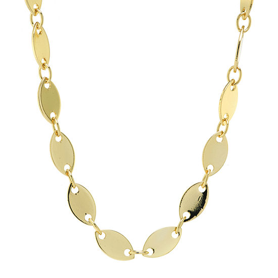 Silver Reflections 24K Gold Over Brass 16 Inch Link Chain Necklace