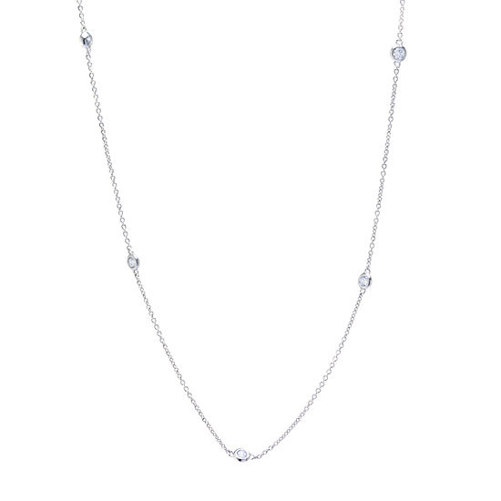 Silver Reflections Cubic Zirconia Pure Silver Over Brass 18 Inch Rolo Round Chain Necklace