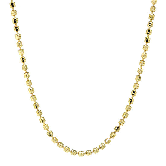 Silver Reflections 24K Gold Over Brass 18 Inch Bead Chain Necklace
