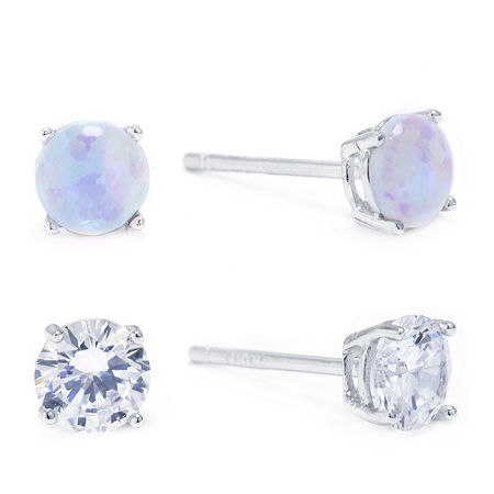 Silver Treasures 2 Pair Cubic Zirconia Earring Set. One Size
