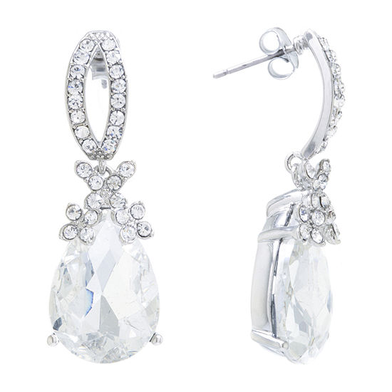 Sparkle Allure Pure Silver Over Brass Crystal Drop Earrings