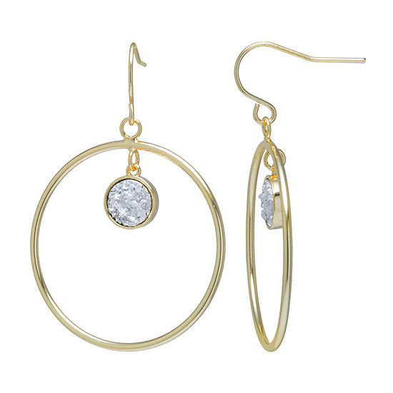 Sparkle Allure Drusy 14K Gold Over Brass Drop Earrings
