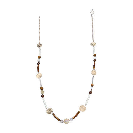 Mixit Long 36 Inch Beaded Necklace, One Size , White
