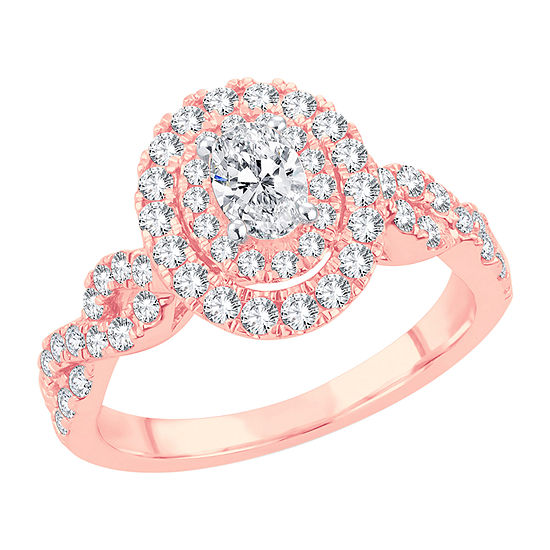 Womens 1 CT. T.W. Lab Grown White Diamond 10K Rose Gold Engagement Ring