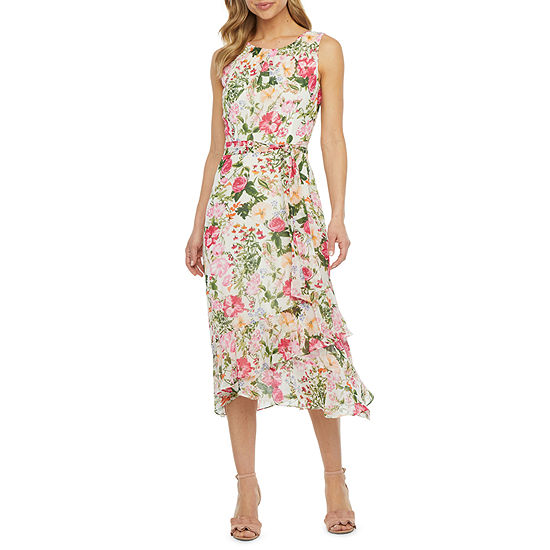R & K Originals Sleeveless Floral Midi Fit & Flare Dress