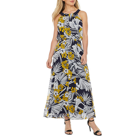 Robbie Bee Sleeveless Floral Print Maxi Dress - Petite