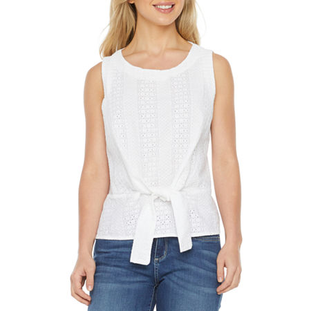 Liz Claiborne-Petite Womens Round Neck Sleeveless Blouse, Petite Medium , White