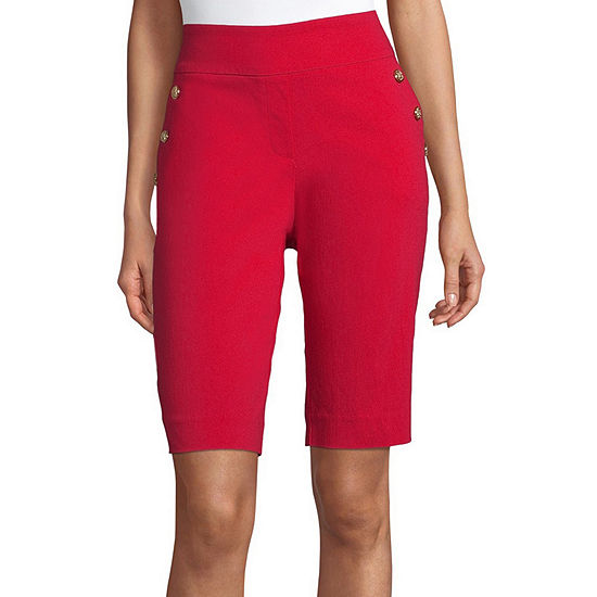 Liz Claiborne Womens Mid Rise Stretch Pull-On Short
