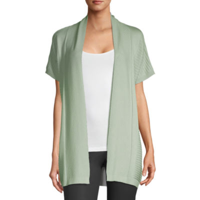 Liz Claiborne Studio Womens Short Sleeve Cardigan