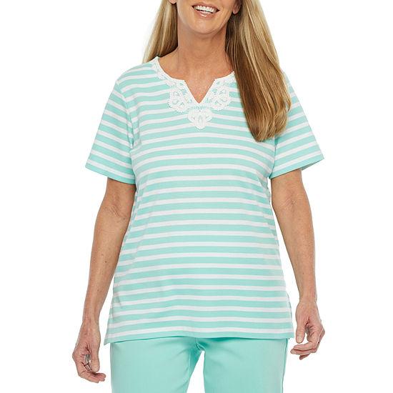 Alfred Dunner Captiva-Womens Split Crew Neck Short Sleeve T-Shirt