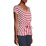 Liz Claiborne-Womens V Neck Short Sleeve T-Shirt