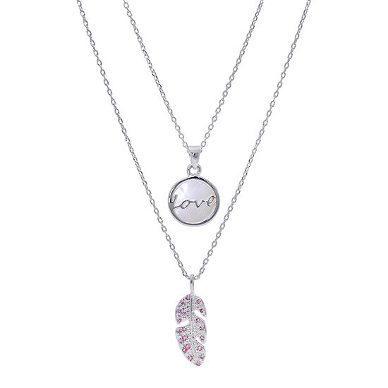 Sparkle Allure You & Me 2-pc. Cubic Zirconia Pure Silver Over Brass 16 Inch Link Pendant Necklace Set