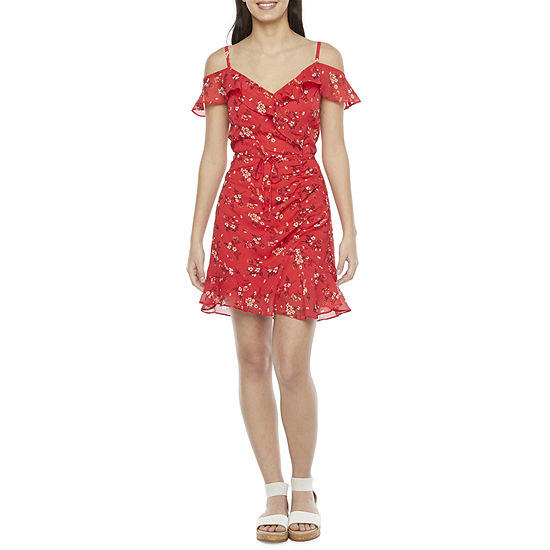 by&by Short Sleeve Floral A-Line Dress-Juniors