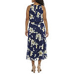 Robbie Bee-Petite Sleeveless Floral Puff Print Midi Maxi Dress