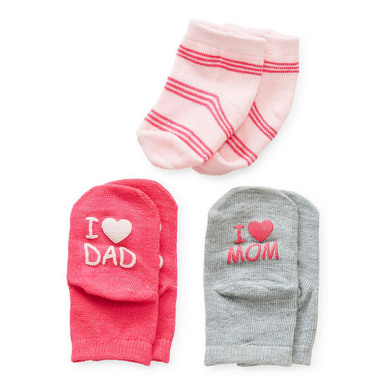 Sole Sayings Baby Girls 3 Pair Crew Socks