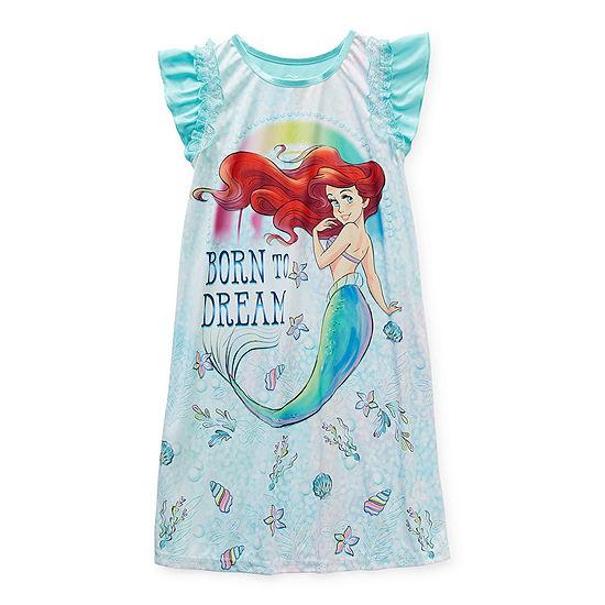 Disney Little & Big Girls Ariel Short Sleeve Crew Neck Nightgown