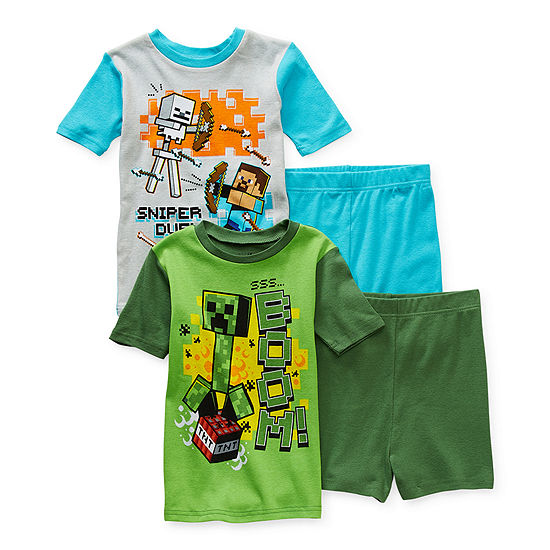 Little & Big Boys 4-pc. Minecraft Shorts Pajama Set