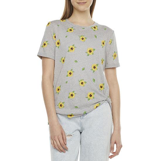Belle Du Jour-Juniors Womens Crew Neck Short Sleeve Knit Blouse