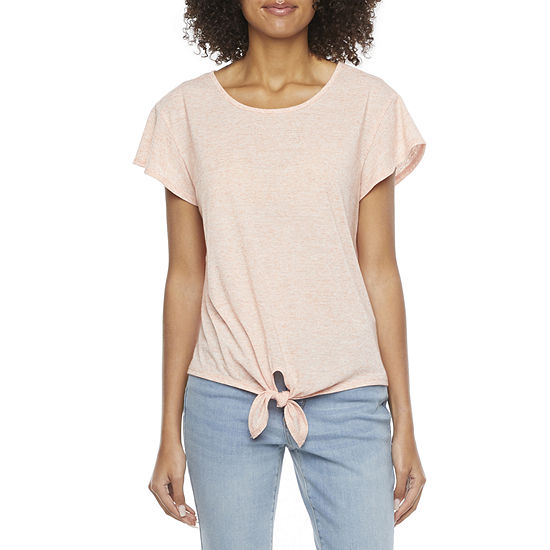 by&by-Juniors Womens Round Neck Short Sleeve Blouse