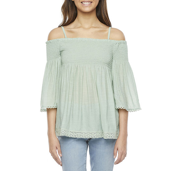 by&by Womens Square Neck 3/4 Sleeve Babydoll Top-Juniors