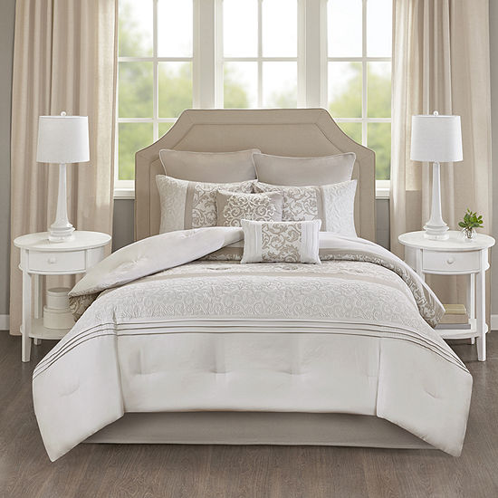 510 Design Lynda 8-Pc. Comforter Set 8-pc. Floral Midweight Embroidered Comforter Set