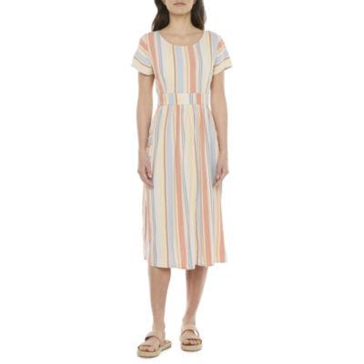a.n.a Short Sleeve Midi Dress