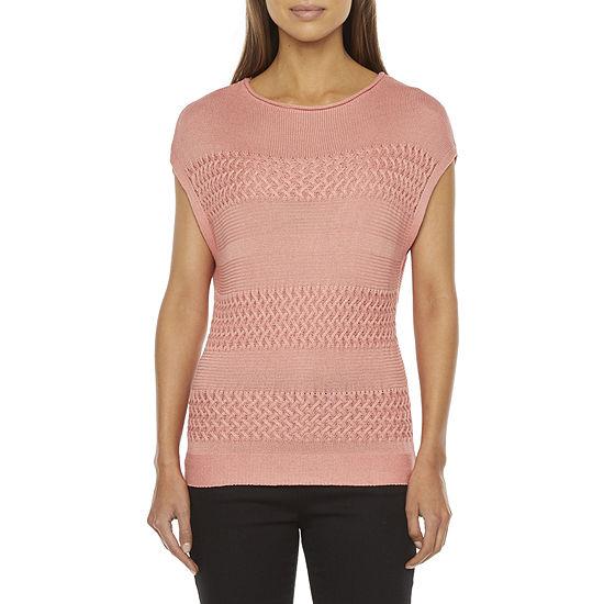 Liz Claiborne Womens Round Neck Short Sleeve Pullover Sweater