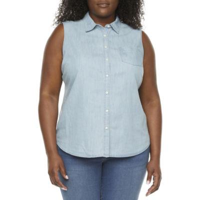 St. John's Bay-Plus Womens Sleeveless Button-Down Shirt