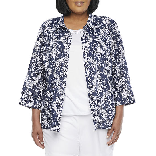 Alfred Dunner Anchor's Away Womens 3/4 Sleeve Layered Top-Plus