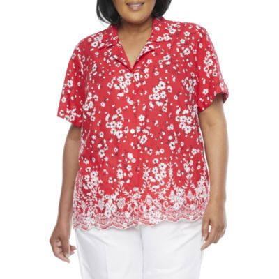 Alfred Dunner-Plus Anchor's Away Womens Short Sleeve Embroidered Blouse