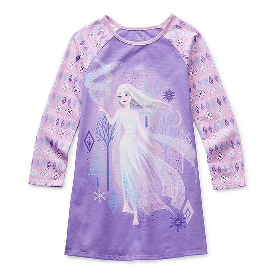 Disney Collection Little & Big Girls Knit Frozen Long Sleeve Round Neck Nightshirt