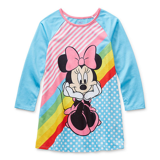 Disney Collection Little & Big Girls Knit Minnie Mouse Long Sleeve Round Neck Nightshirt