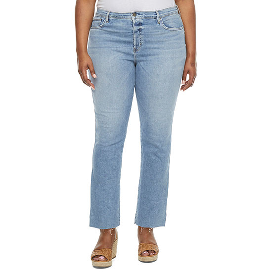 a.n.a - Plus Womens High Rise Stretch Straight Leg Jean