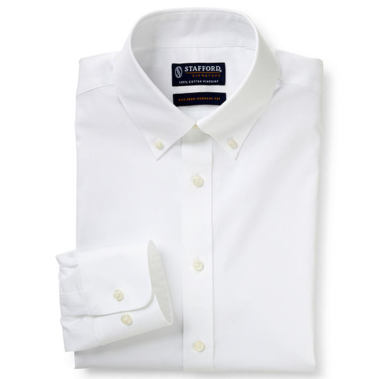 Stafford Mens Non-Iron Cotton Button Down Collar Big and Tall Dress Shirt