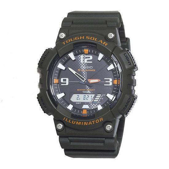 Casio Mens Chronograph Green Strap Watch-Aqs18w-3avcf
