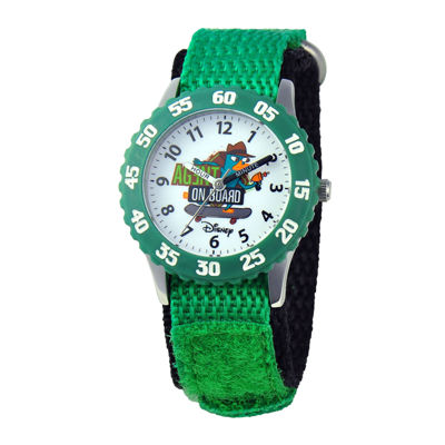 Disney Kids Time Teacher Agent P Green Fat Strap Watch