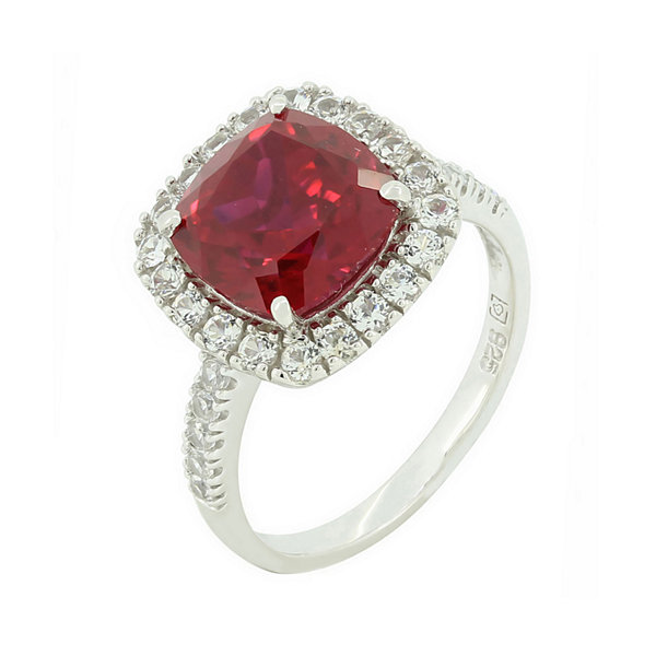 Lab-Created Ruby & Lab-Created White Sapphire Sterling Silver Halo Ring