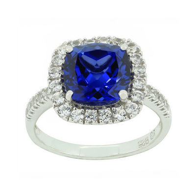 Blue & White Lab-Created Sapphire Sterling Silver Ring