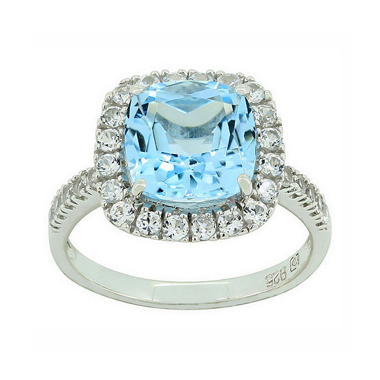 Genuine Blue Topaz & Lab-Created White Sapphire Sterling Silver Ring