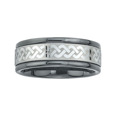 Mens Ceramic and Tungsten Laser Etched Comfort-Fit Band Ring