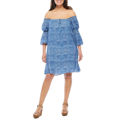 Luxology Off the Shoulder 3/4 Sleeve Babydoll Dress