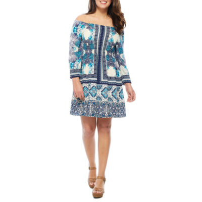 Luxology Off the Shoulder 3/4 Sleeve Peasant Dress