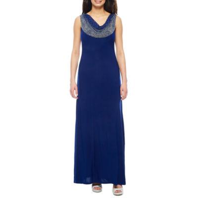 Jackie Jon Sleeveless Beaded Cowlneck Formal Gown