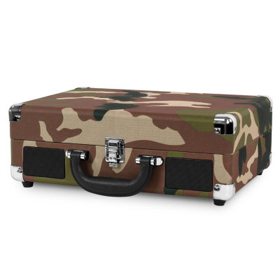Victrola VSC-550BT CAMO 3-Speed Vintage Bluetooth Suitcase Turntable with Built-In Stereo Speakers