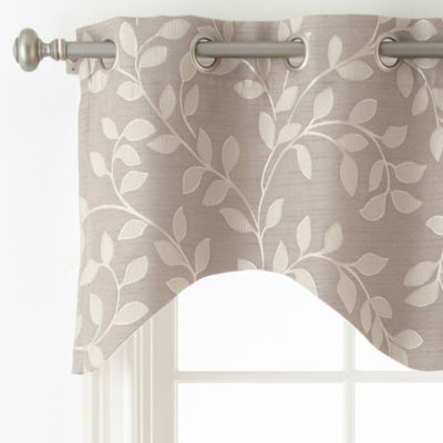 Liz Claiborne Quinn Leaf Grommet Top Single Scalloped Valance