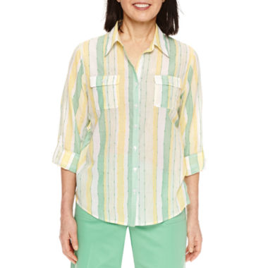 Alfred Dunner Bahama Bays 3/4 Sleeve Stripe Button-Front Shirt