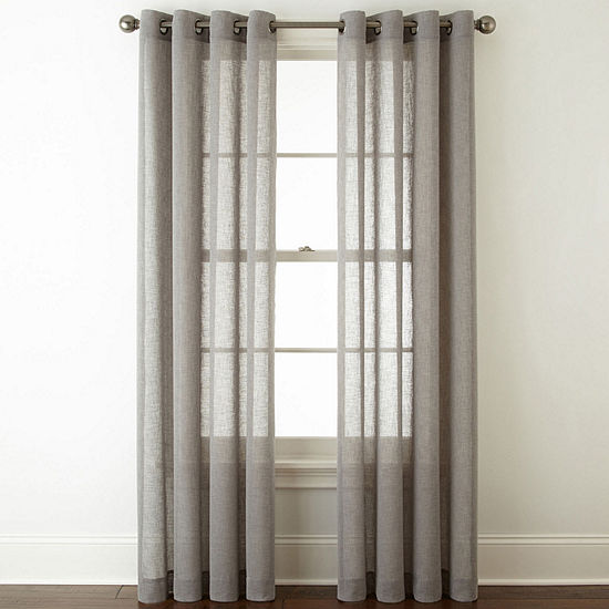 JCPenney Home Bayview Sheer Grommet-Top Single Curtain Panel