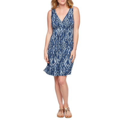 St. John's Bay Sleeveless Abstract A-Line Dress