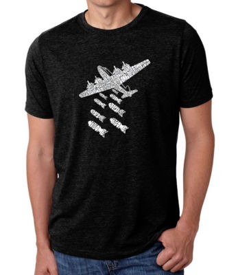 Los Angeles Pop Art Men's Premium Blend Word Art T-shirt - Drop Beats Not Bombs